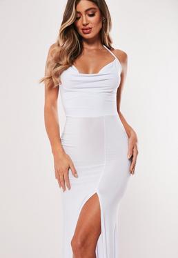 72f721004 Vestido largo de escote holgado con abertura en blanco