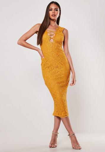 dbc74d965f35 Mustard Lace Up Front Midi Dress | Missguided