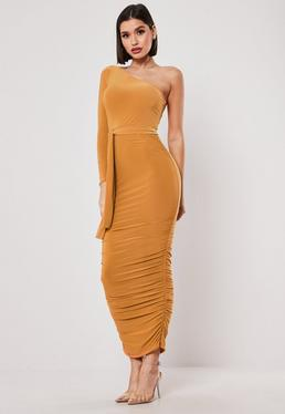4ebf4c654d3 ... Mustard One Shoulder Slinky Bodycon Ruched Midaxi Dress