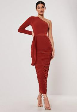 e6e75c7274f ... Rust One Shoulder Slinky Bodycon Ruched Midaxi Dress