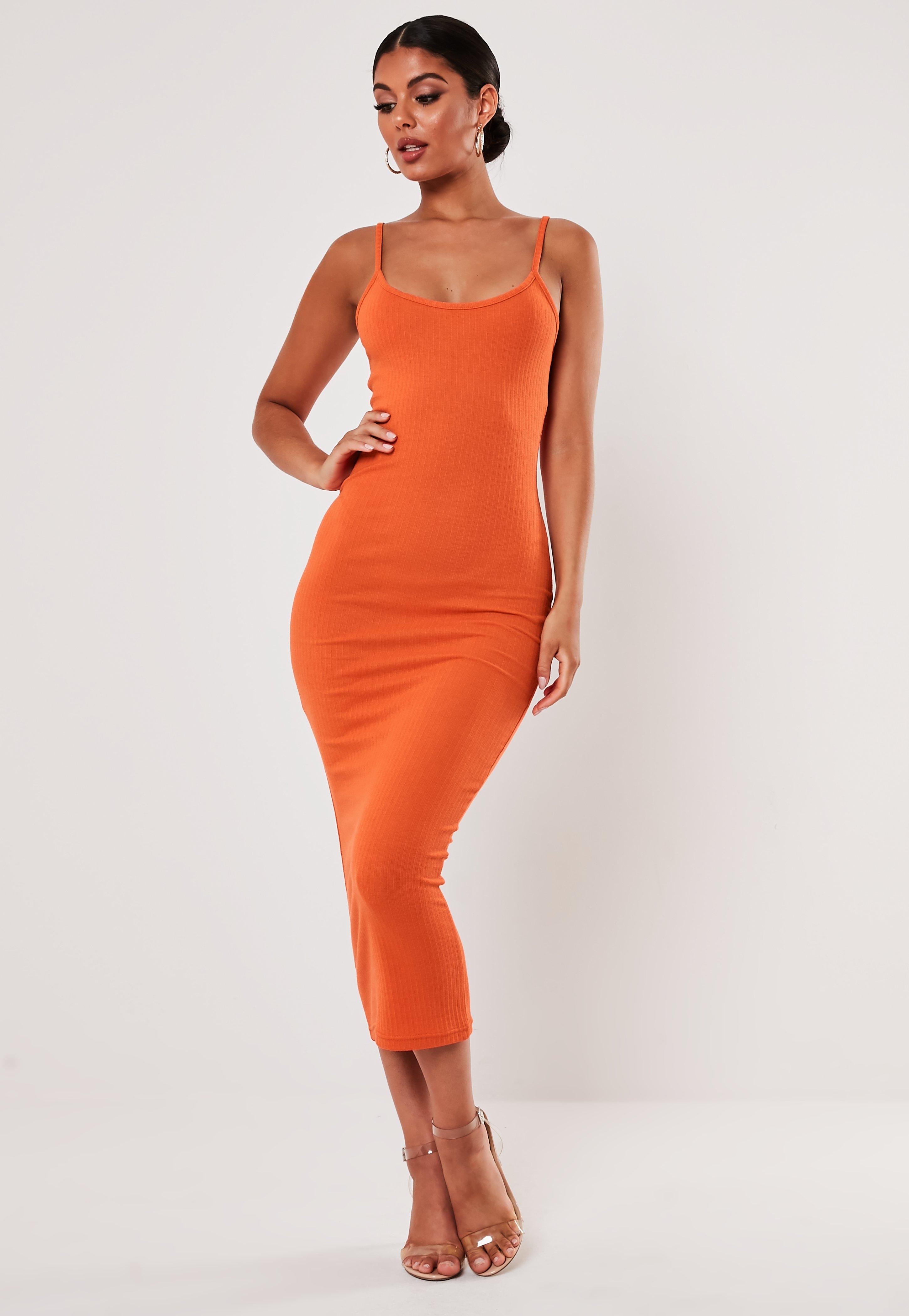 Orange Rib Strappy Midi Dress by Missguided