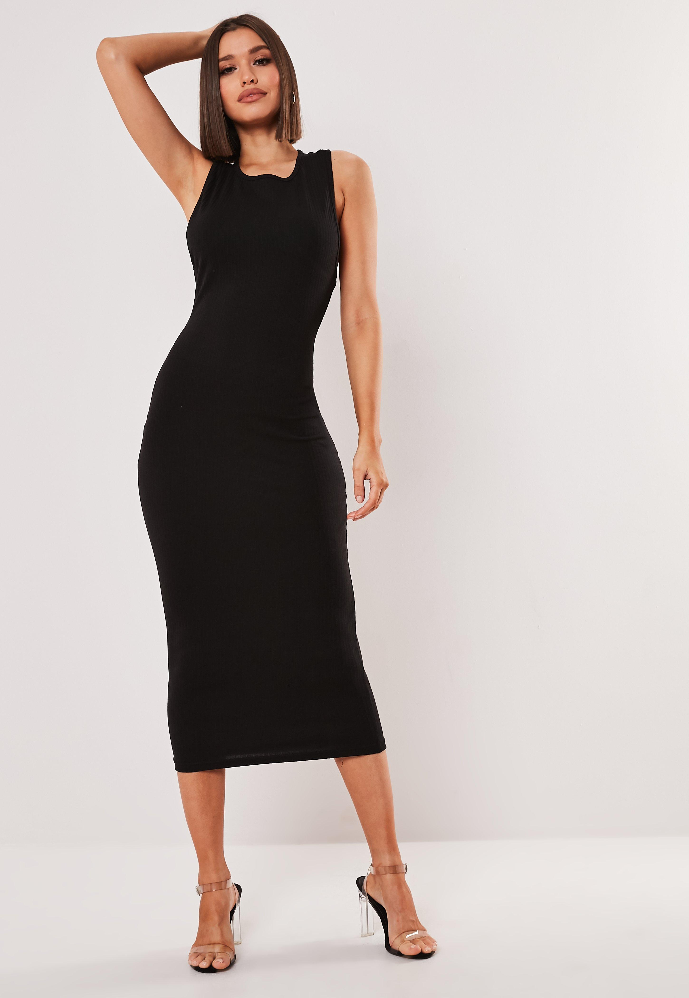 5d0052d00607 Black Ribbed Racer Back Bodycon Midi Dress | Missguided