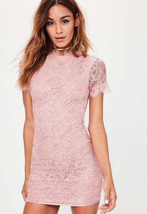 Pink Cornelli Lace Short Bodycon Dress
