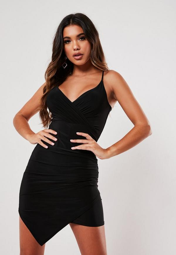 Black Strappy Slinky Wrap Bodycon Dress Missguided Ireland
