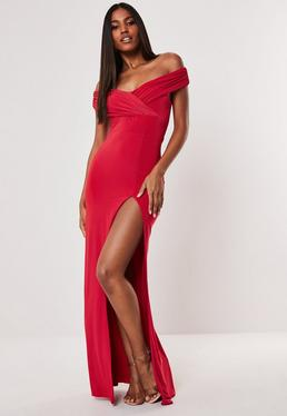 06dd6bd3e3e Red Slinky Bardot Wrap Split Hem Maxi Dress