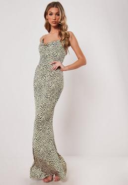 655ccec4429 ... Stone Leopard Print Slinky Cowl Neck Bodycon Maxi Dress