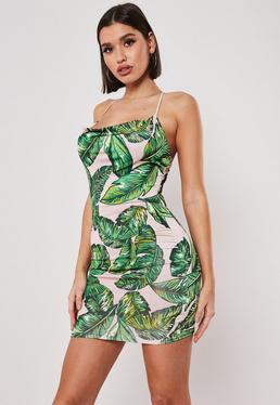 486821490b3 Green Palm Print Slinky Cowl Neck Bodycon Mini Dress