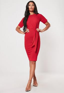 b1273190926 ... Red Ribbed Belted Midi Dress