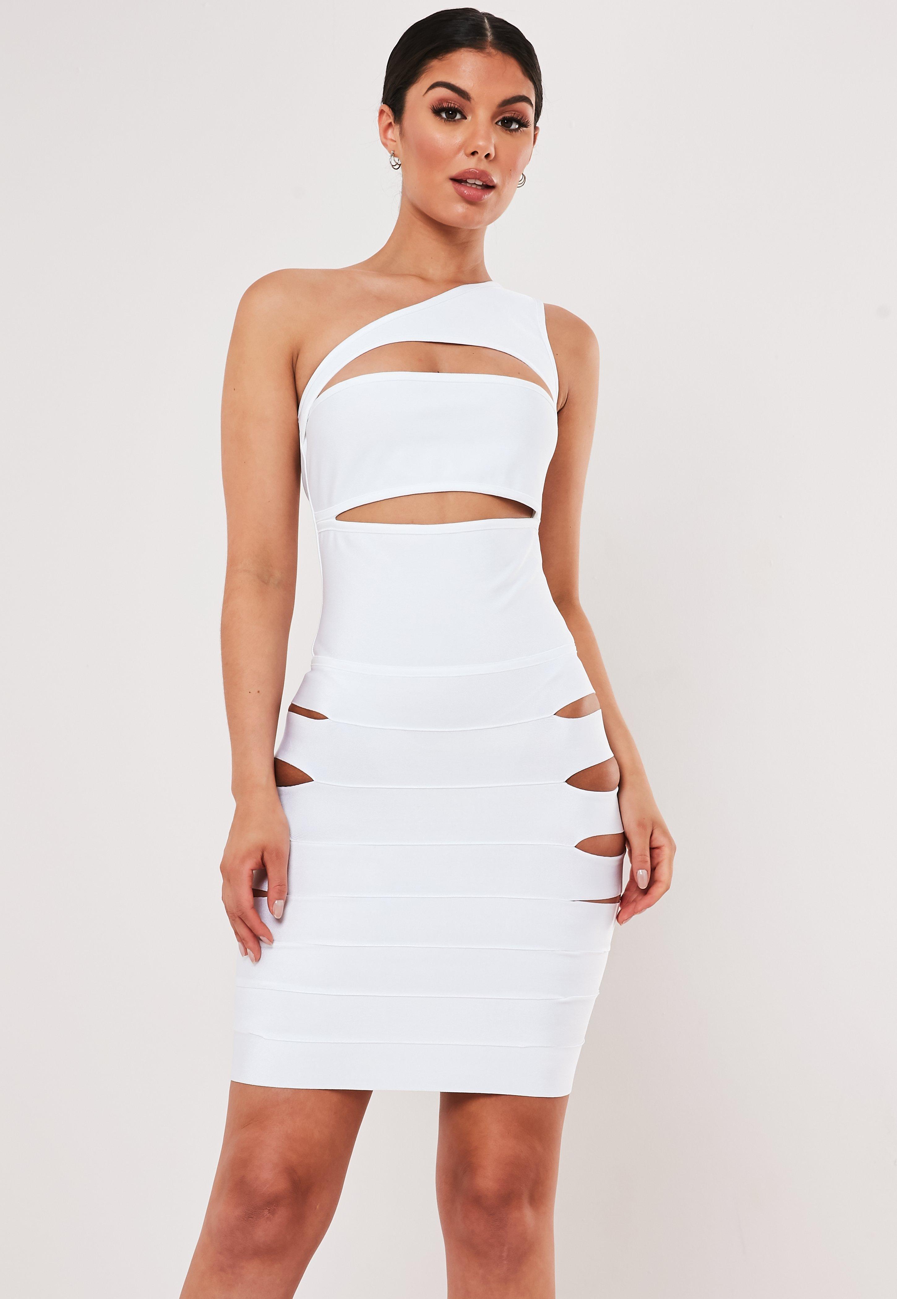 6639aa8deef4 Premium White Bandage One Shoulder Cut Out Mini Dress | Missguided