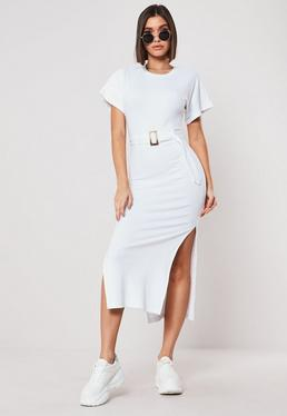 1700962407 White Ribbed Tortoiseshell Belted Midi Dress