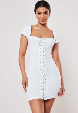 4563de8e37 White Rib Cap Sleeve Lace Up Mini Dress
