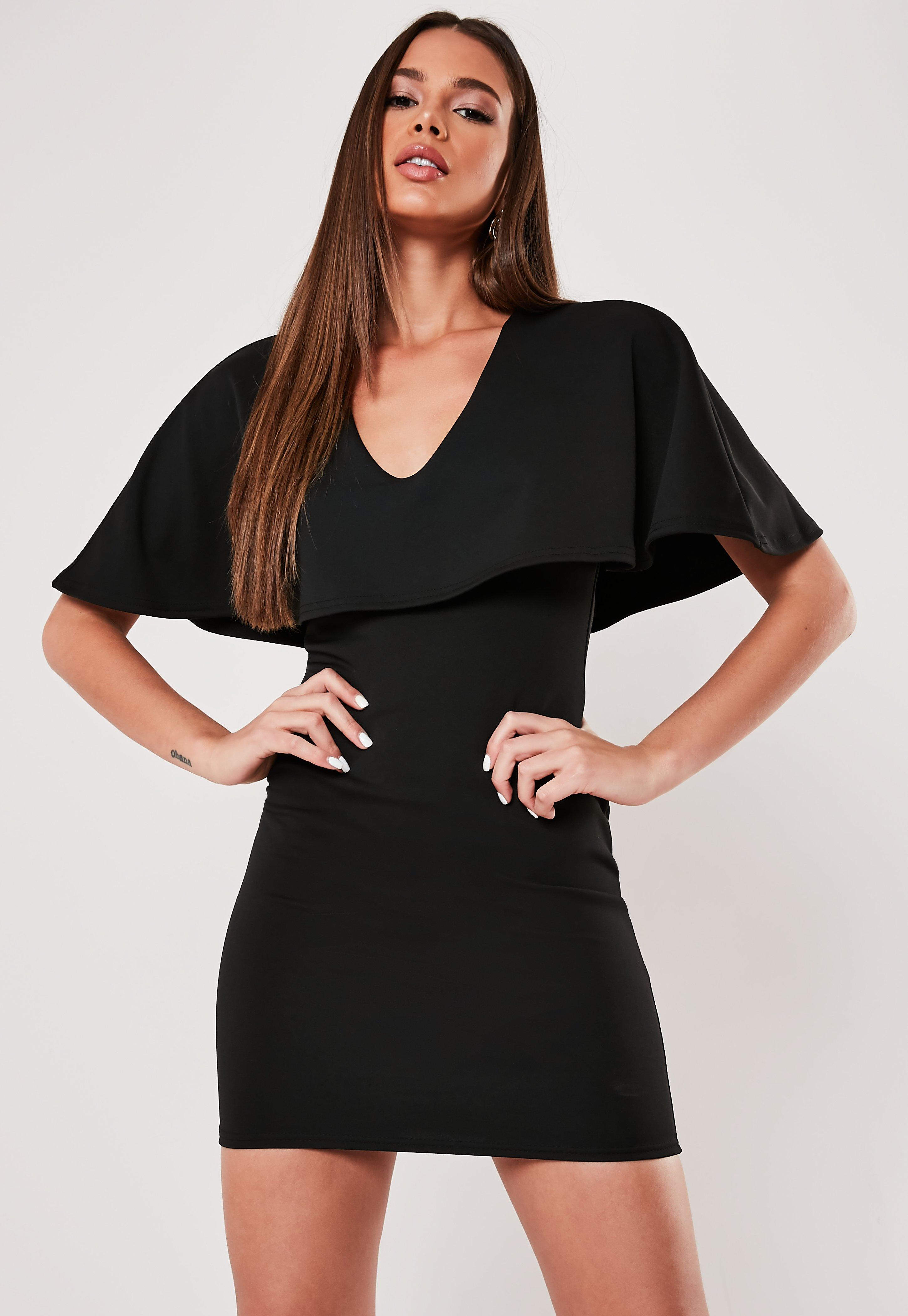 Black Cape Bodycon Mini Dress by Missguided