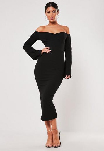 dfb303a9d9b53 Black Bardot Flute Sleeve Bodycon Midi Dress | Missguided