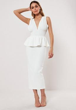 e355700a66 ... White Sleeveless Deep Plunge Peplum Midi Dress