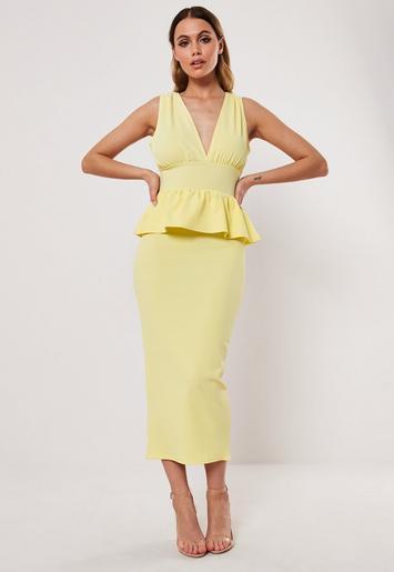 Lemon Sleeveless Deep Plunge Peplum Midi Dress by Missguided