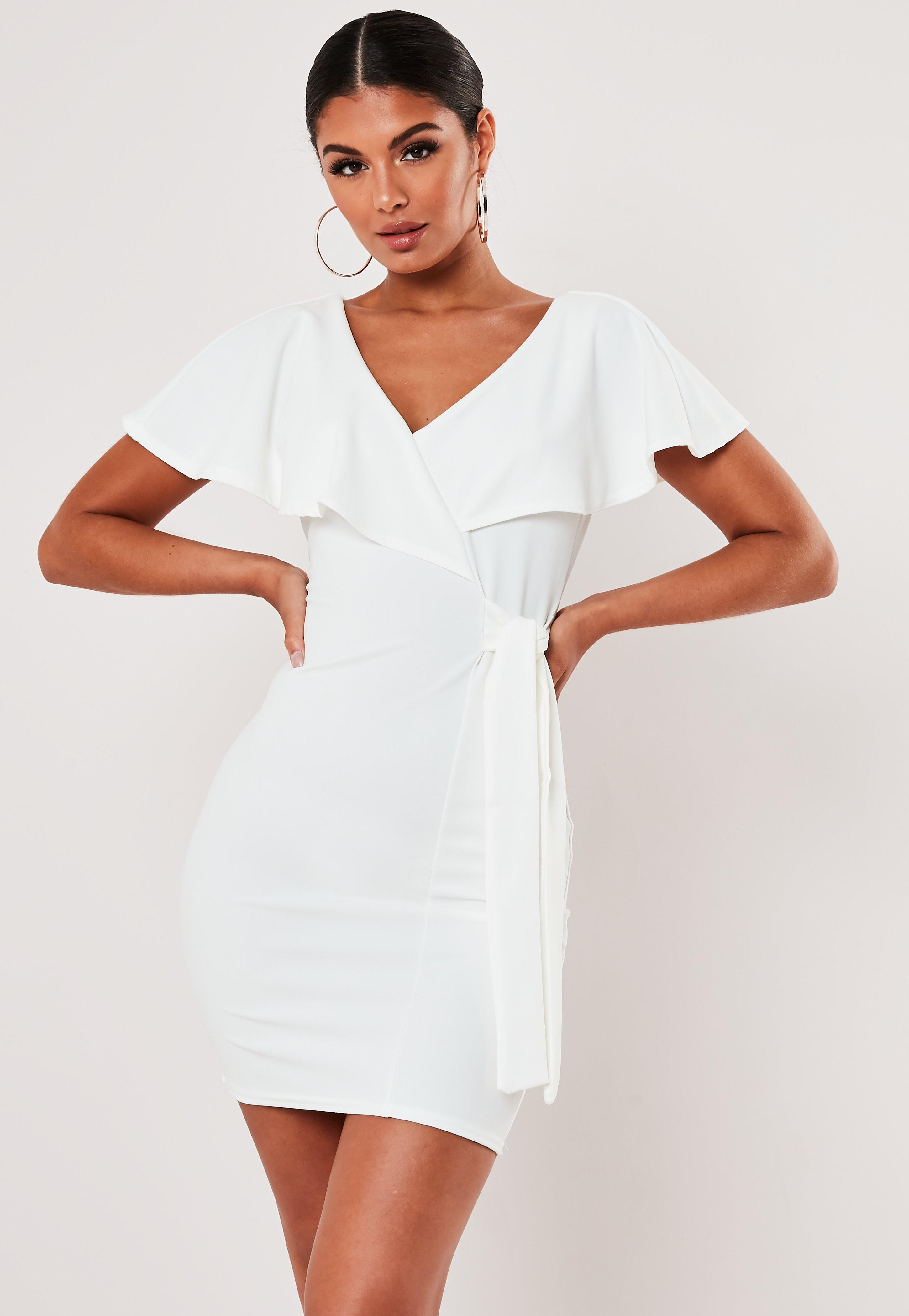 White Belted Frill Wrap Mini Dress by Missguided