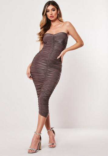 Taupe Extreme Ruched Bandeau Bodycon Midi Dress by Missguided