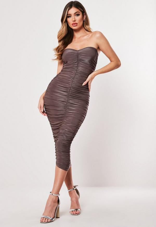 ba45b7bd0576 Taupe Extreme Ruched Bandeau Bodycon Midi Dress