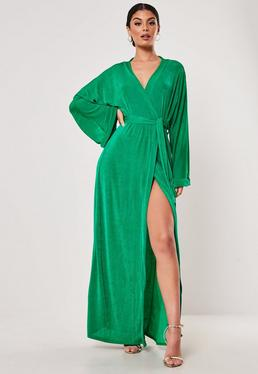 e2e80008ab ... Green Slinky Belted Wrap Kimono Maxi Dress