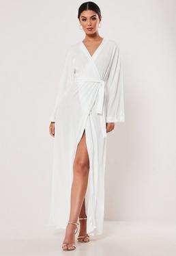 518068091b3 White Slinky Belted Wrap Kimono Maxi Dress
