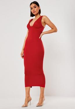 Платье мидакси с красным бюстом