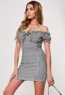 Миниатюрное облегающее мини-платье Black Gingham Bardot