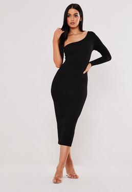 51e0d1660c5 Black Bardot Fishtail Bodycon Midi Dress  Black One Sleeve Bodycon Midaxi  Dress