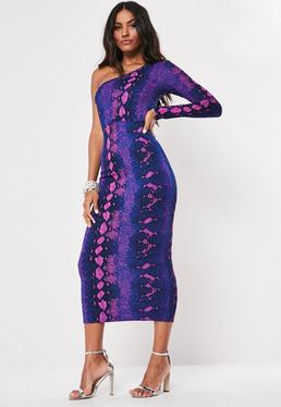 ecb39a68c038 Blue Snake Print One Sleeve Bodycon Midaxi Dress