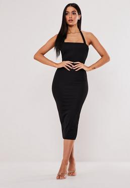 bc23ae5a6ebe ... Black Square Neck Halterneck Bodycon Midi Dress