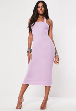 36de808a3a61 Lilac Square Neck Halterneck Bodycon Midi Dress