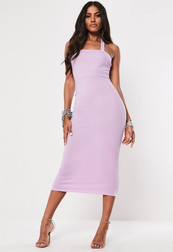 Lilac Square Neck Halterneck Bodycon Midi Dress | Missguided