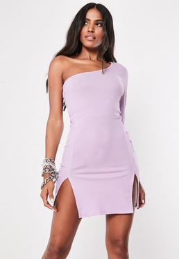 168b35aaa ... Vestido corto asimétrico con doble abertura en lila