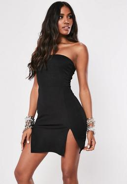 5634b621a7 Black Bandeau Double Split Bodycon Mini Dress