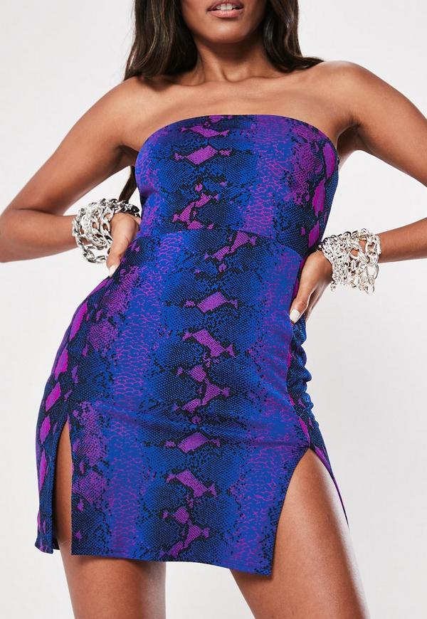 cc62ab7c3d Blue Snake Print Bandeau Double Split Bodycon Mini Dress. Previous Next