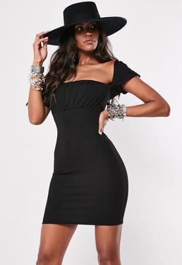 6cc054f8b50 Black Milkmaid Bodycon Mini Dress