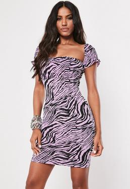 419240c8690762 Purple Zebra Print Milkmaid Bodycon Mini Dress