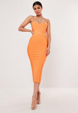e03ea8d483c ... Orange Ribbed Cross Front Bandage Bodycon Midaxi Dress
