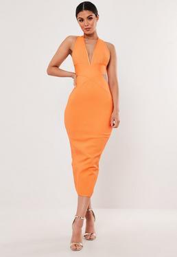 0ce147966 Orange Ribbed Halterneck Bandage Midaxi Dress