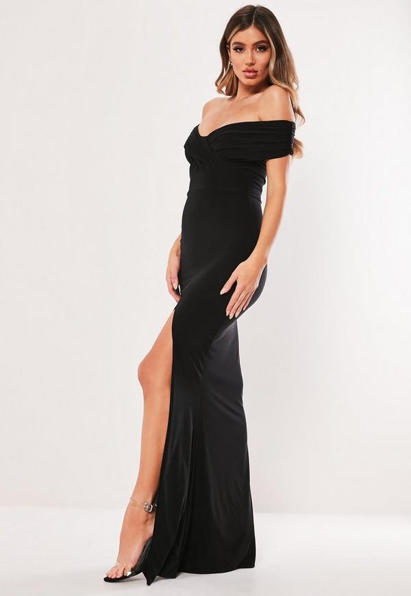 Black Bardot Wrap Slit Slinky Maxi Dress Missguided