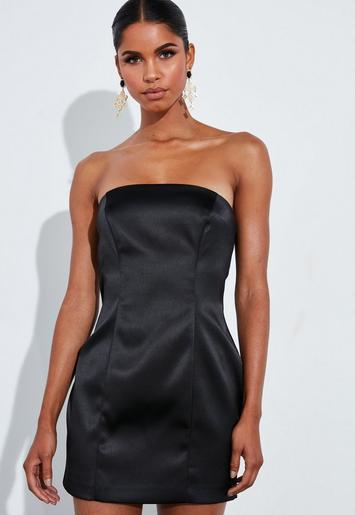 Peace + Love Black Satin Structured Curve Mini Dress by Missguided