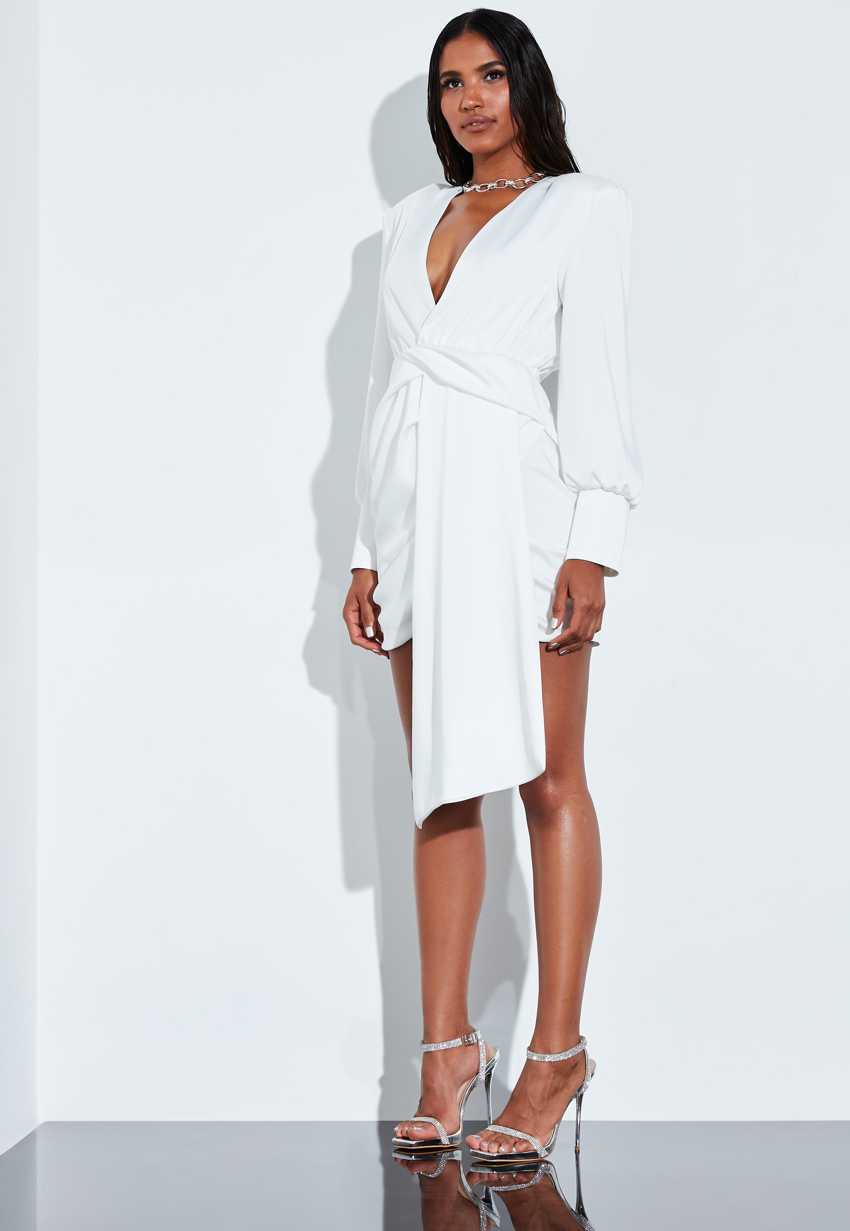 PeaceLove Blanco Cruzado De Vestido Satén Corto En Drapeado n80wkOP