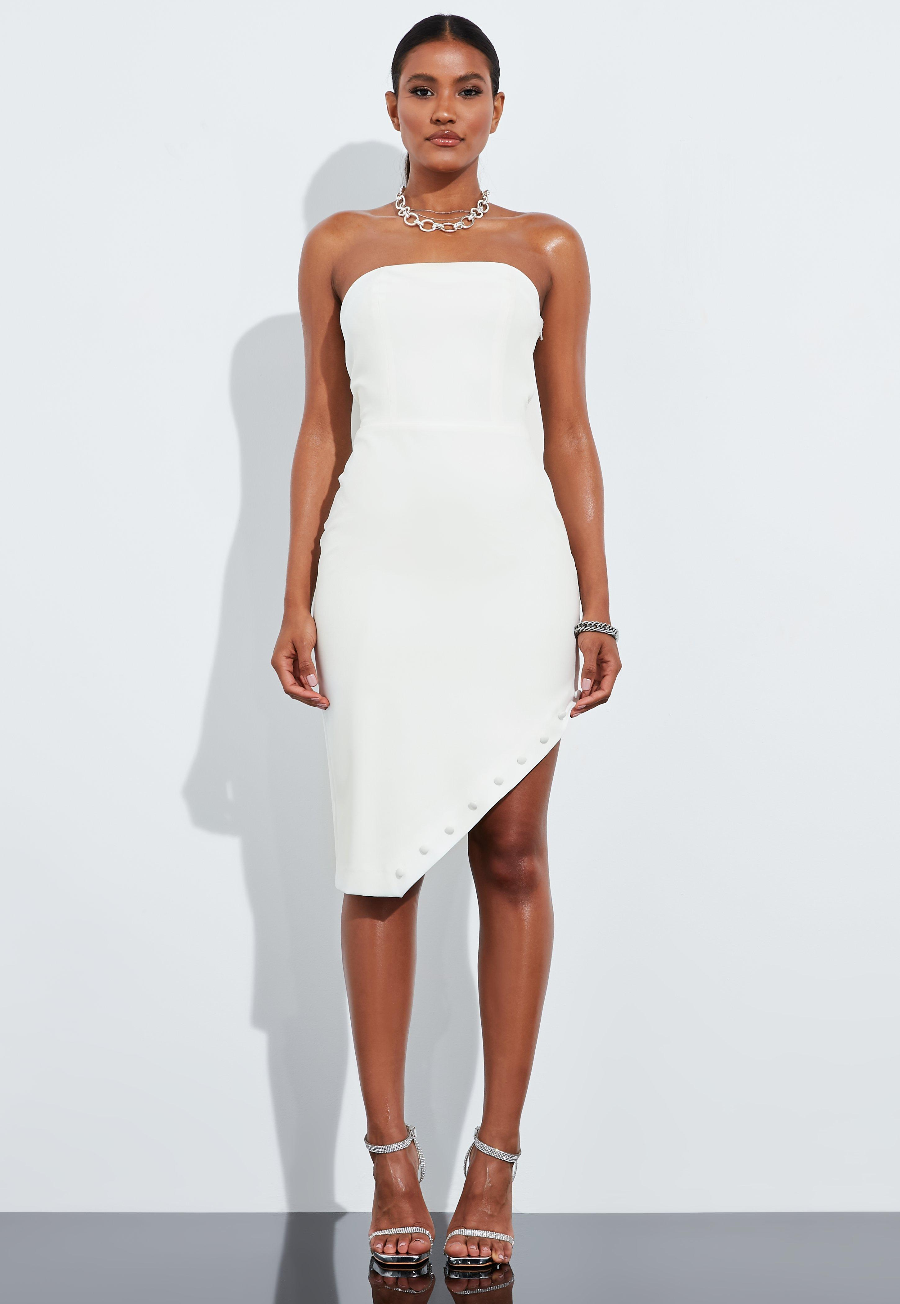 bbaf132edcf27 Peace + Love Ivory Bandeau Asymmetric Hem Mini Dress