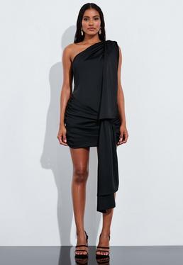 Peace + Love Черное атласное мини-платье с завязками на одно плечо