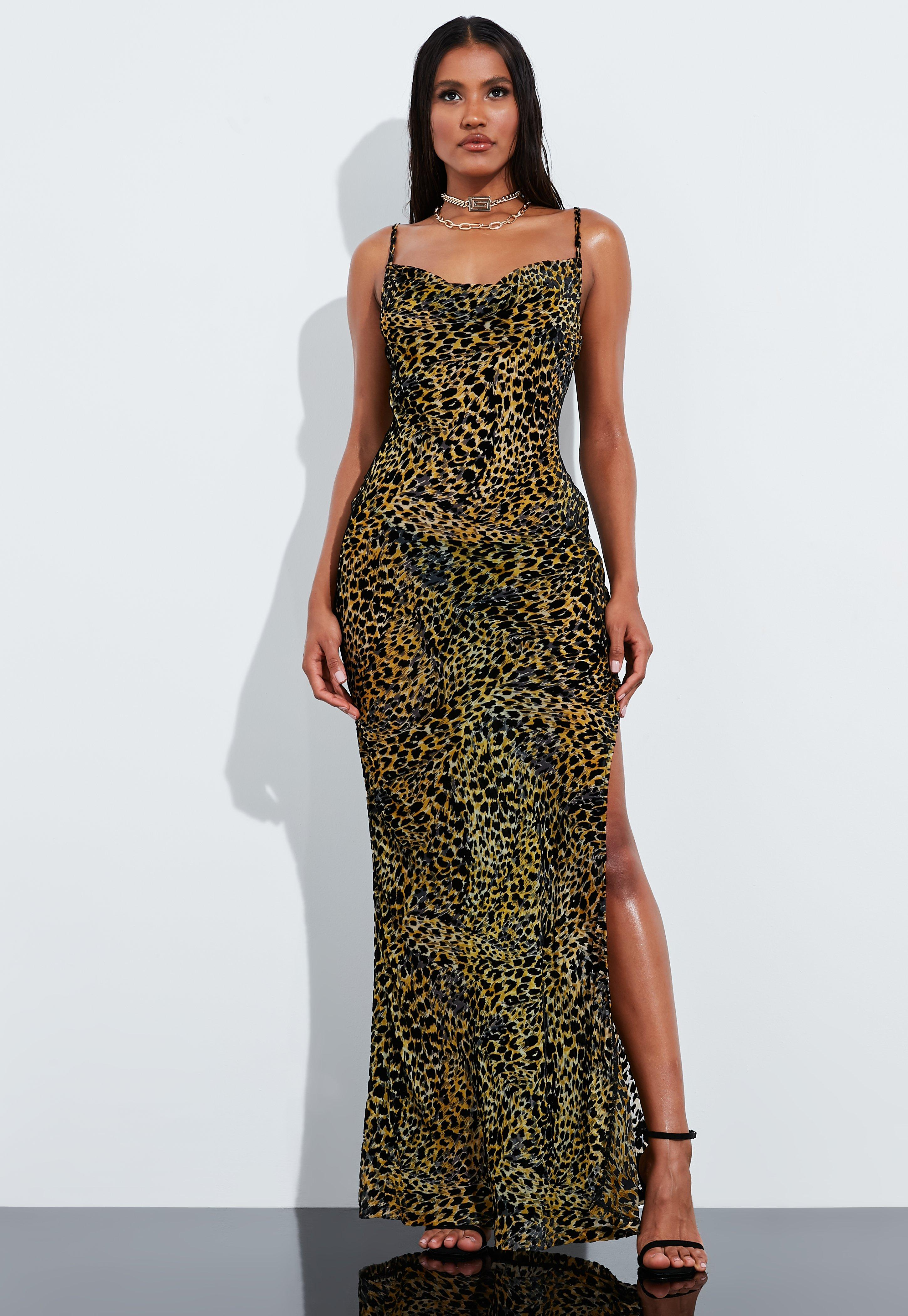 classic fit buy online later Peace + Love Brown Leopard Print Velvet Maxi Dress | Missguided