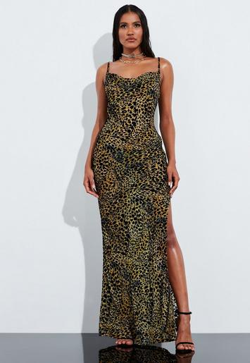 Peace + Love Brown Leopard Print Velvet Maxi Dress by Missguided