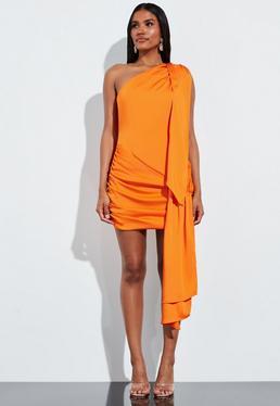 Peace + Love Оранжевое атласное мини-платье с завязками на одно плечо