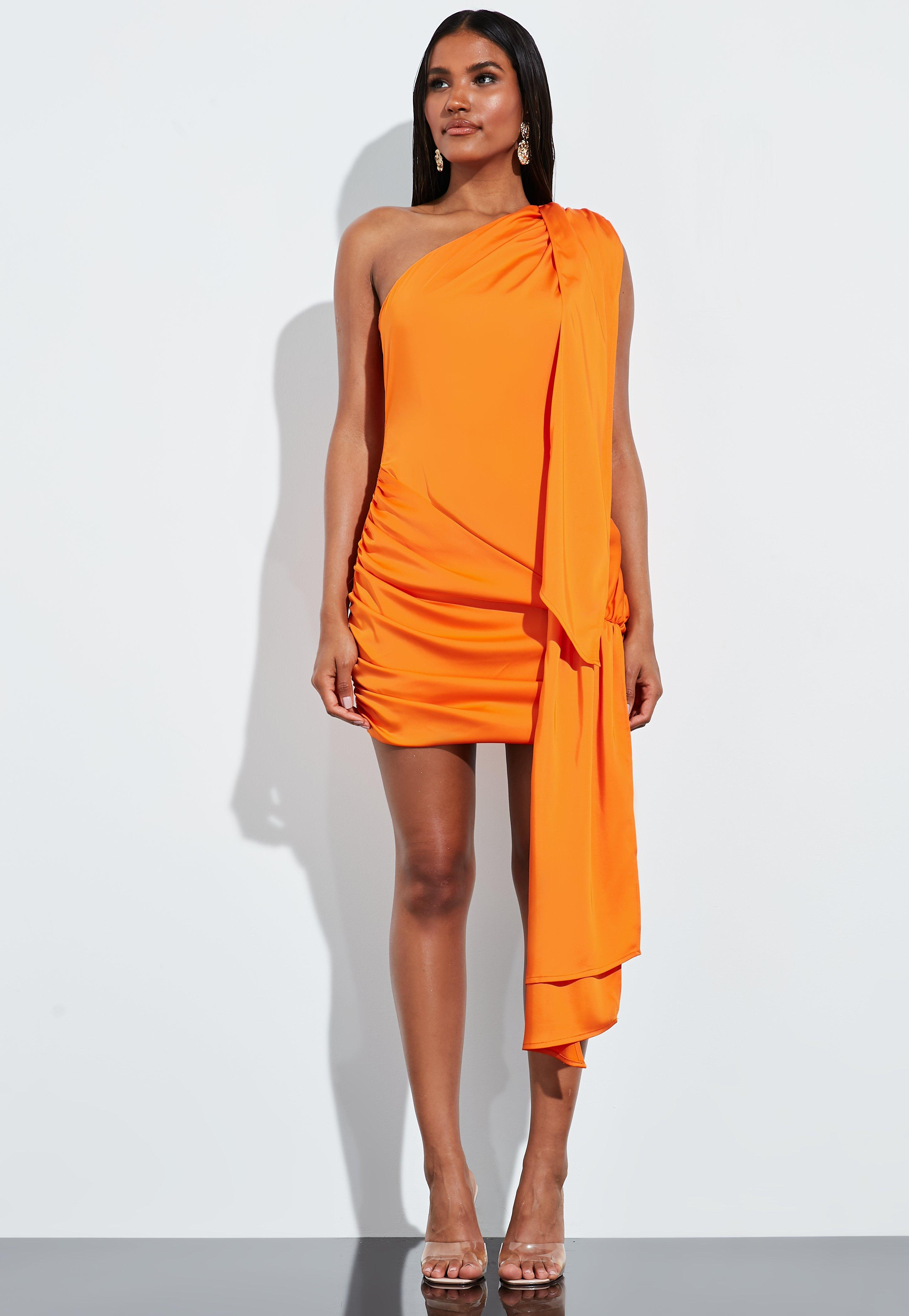 En Drapeado Corto PeaceLove Asimétrico Vestido Satén Naranja De MpGVUqzLS