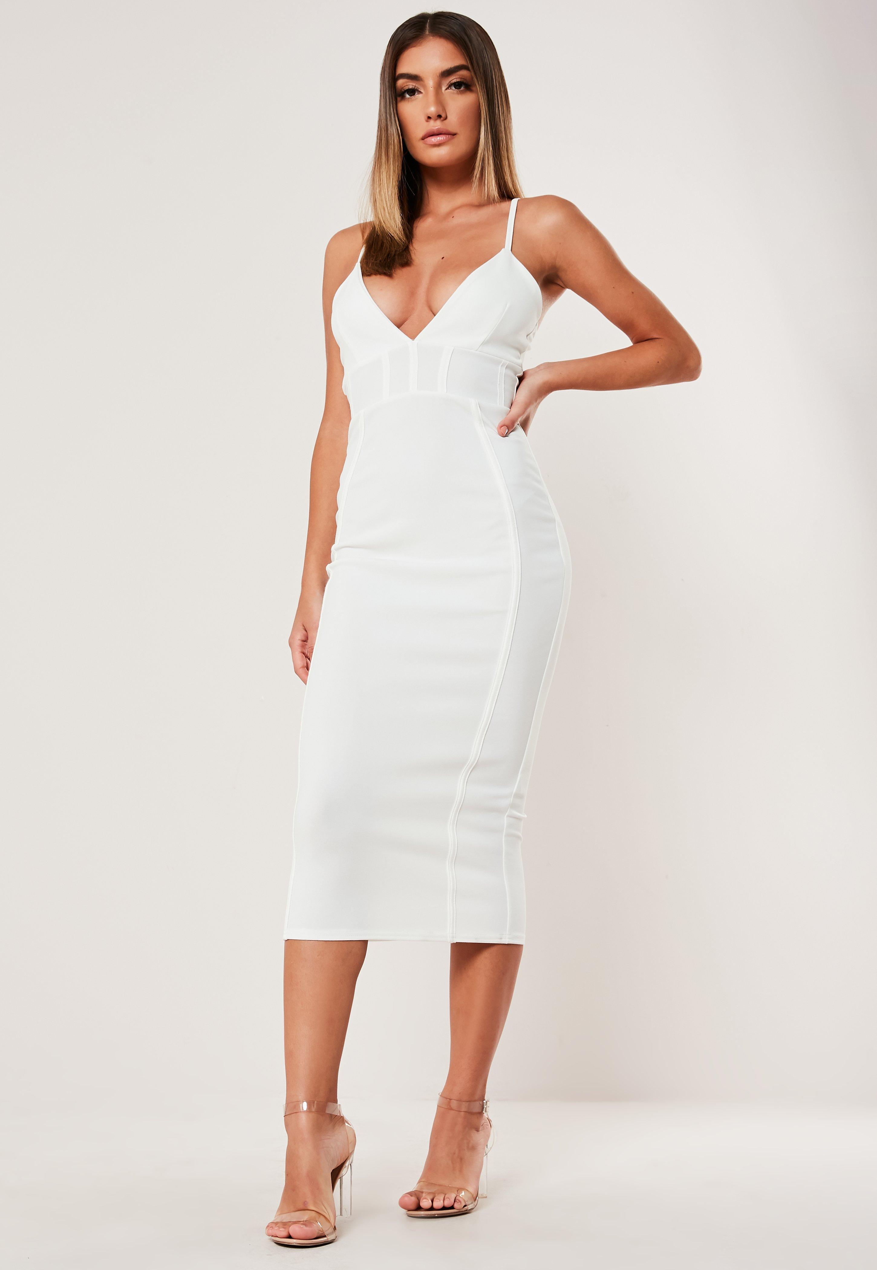 con blanco Vestido corsé detalle midi de ajustado DI2eEYWH9