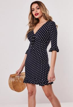acf691e901d ... Navy Polka Dot Jersey Tea Dress