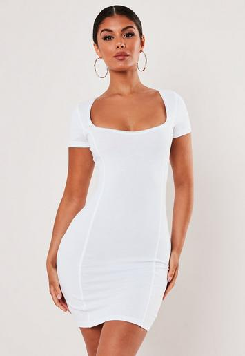White Picot Trim Bodycon Mini Dress by Missguided
